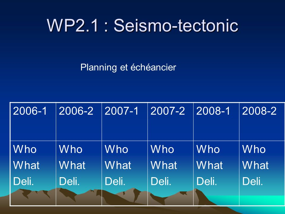 WP2.1 : Seismo-tectonic 2006-12006-22007-12007-22008-12008-2 Who What Deli. Who What Deli. Who What Deli. Who What Deli. Who What Deli. Who What Deli.