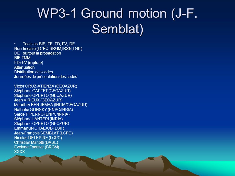 WP3-1 Ground motion (J-F.