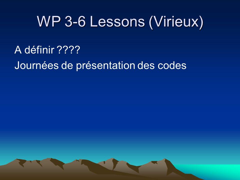 WP 3-6 Lessons (Virieux) A définir ???? Journées de présentation des codes