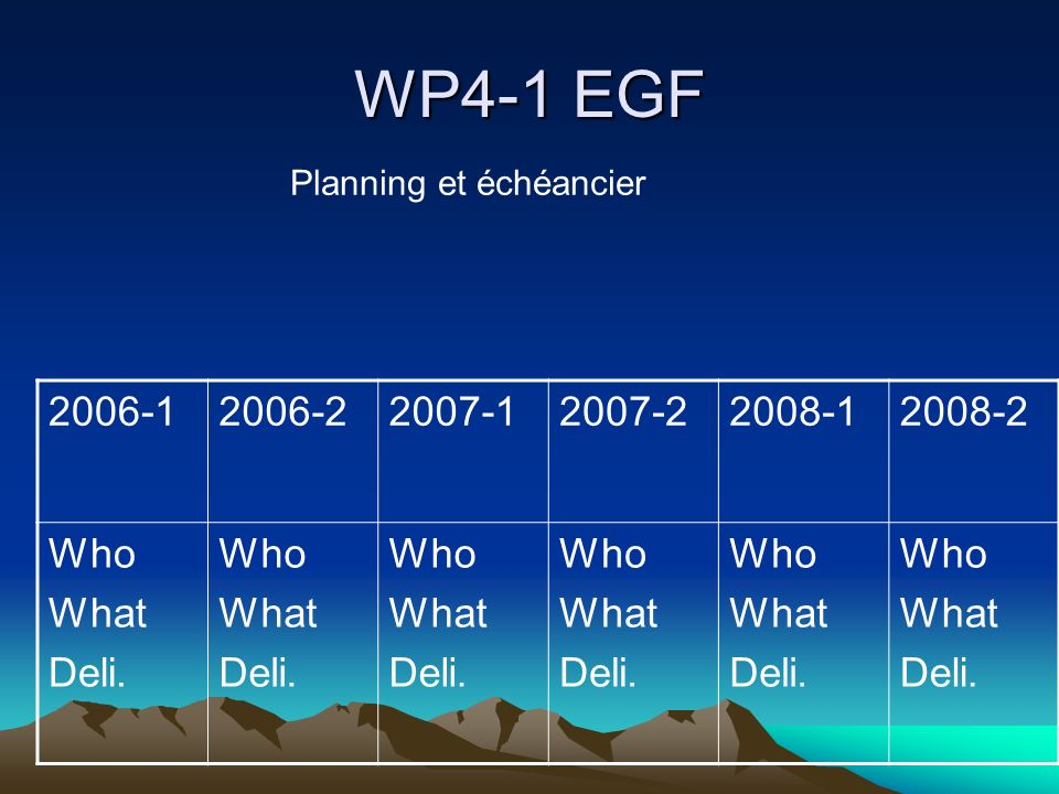 WP4-1 EGF 2006-12006-22007-12007-22008-12008-2 Who What Deli.