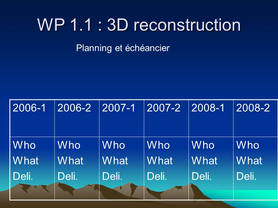 WP 1.1 : 3D reconstruction 2006-12006-22007-12007-22008-12008-2 Who What Deli.