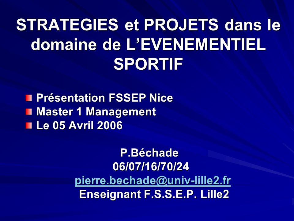 STRATEGIES et PROJETS dans le domaine de LEVENEMENTIEL SPORTIF Présentation FSSEP Nice Master 1 Management Le 05 Avril 2006 P.Béchade 06/07/16/70/24 06/07/16/70/24 pierre.bechade@univ-lille2.fr pierre.bechade@univ-lille2.frpierre.bechade@univ-lille2.fr Enseignant F.S.S.E.P.