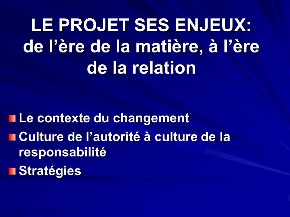 LE PROJET SES ENJEUX: de lère de la matière, à lère de la relation Le contexte du changement Culture de lautorité à culture de la responsabilité Stratégies
