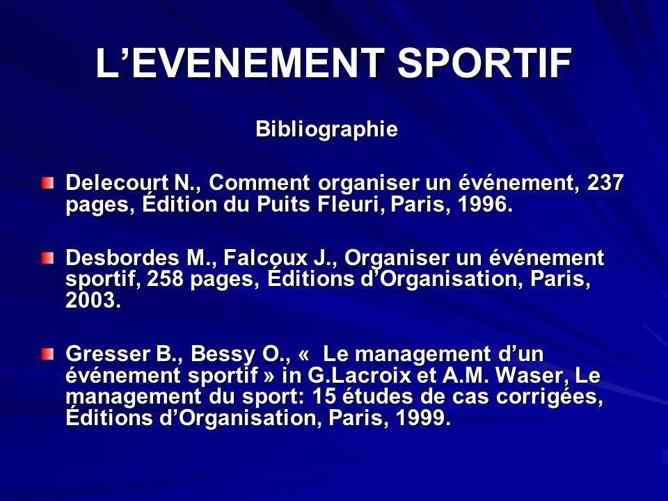 LEVENEMENT SPORTIF Bibliographie Bibliographie Delecourt N., Comment organiser un événement, 237 pages, Édition du Puits Fleuri, Paris, 1996.