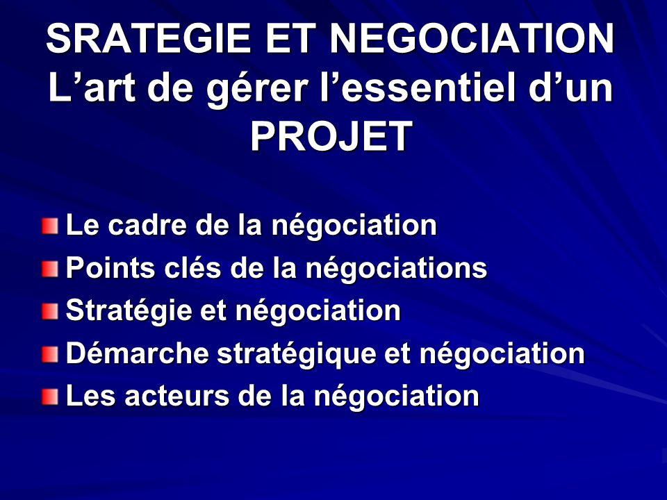 SRATEGIE ET NEGOCIATION Lart de gérer lessentiel dun PROJET Le cadre de la négociation Points clés de la négociations Stratégie et négociation Démarche stratégique et négociation Les acteurs de la négociation