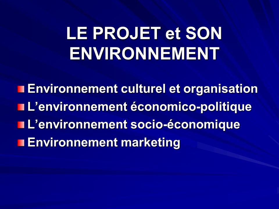 LE PROJET et SON ENVIRONNEMENT Environnement culturel et organisation Lenvironnement économico-politique Lenvironnement socio-économique Environnement marketing