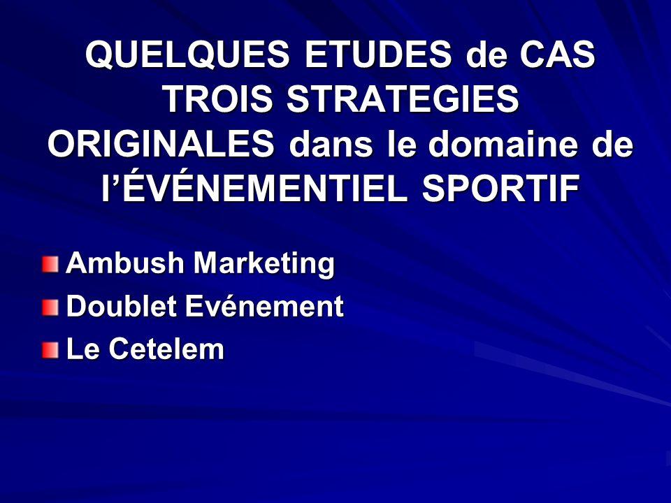 QUELQUES ETUDES de CAS TROIS STRATEGIES ORIGINALES dans le domaine de lÉVÉNEMENTIEL SPORTIF Ambush Marketing Doublet Evénement Le Cetelem