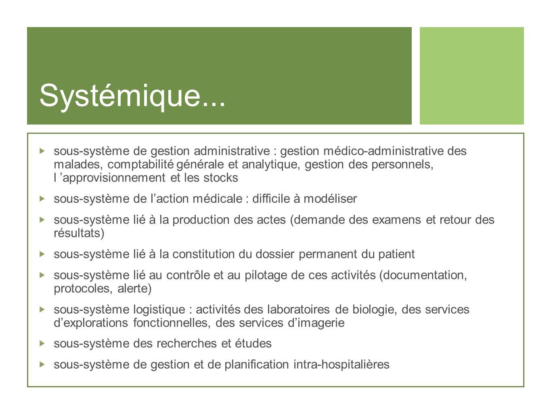 Systémique... sous-système de gestion administrative : gestion médico-administrative des malades, comptabilité générale et analytique, gestion des per