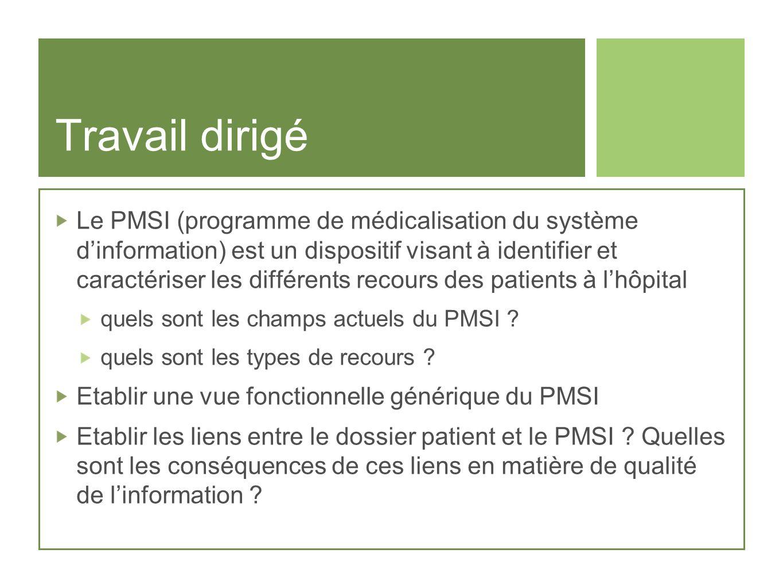 Travail dirigé Le PMSI (programme de médicalisation du système dinformation) est un dispositif visant à identifier et caractériser les différents reco