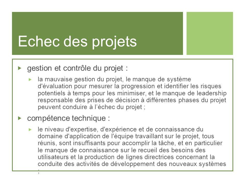 Echec des projets gestion et contrôle du projet : la mauvaise gestion du projet, le manque de système d'évaluation pour mesurer la progression et iden