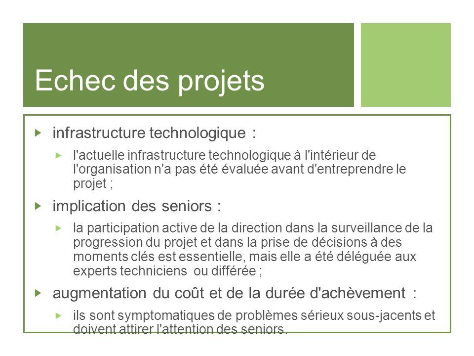 Echec des projets infrastructure technologique : l'actuelle infrastructure technologique à l'intérieur de l'organisation n'a pas été évaluée avant d'e