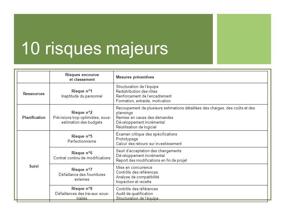 10 risques majeurs Risques encourus et classement Mesures préventives Ressources Risque n°1 Inaptitude du personnel Structuration de léquipe Redistrib