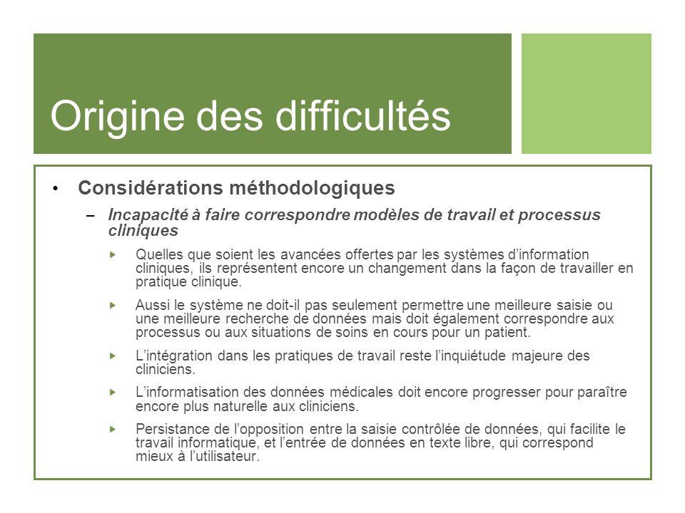 Origine des difficultés Considérations méthodologiques – Incapacité à faire correspondre modèles de travail et processus cliniques Quelles que soient