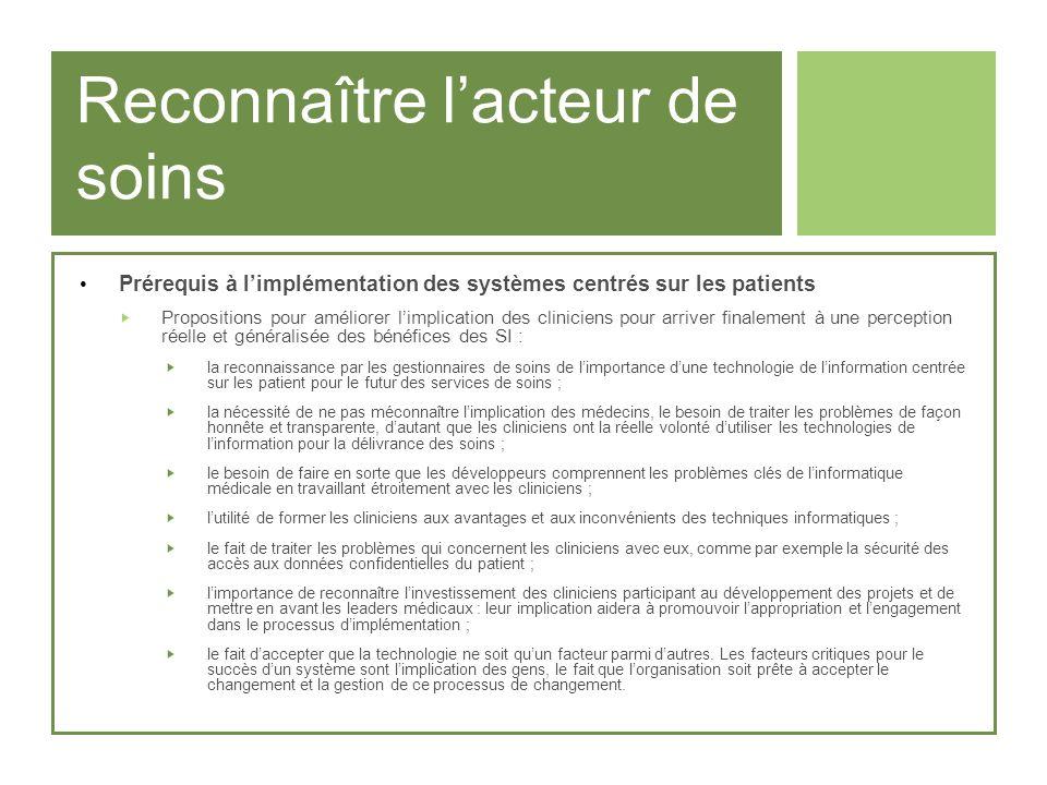 Reconnaître lacteur de soins Prérequis à limplémentation des systèmes centrés sur les patients Propositions pour améliorer limplication des cliniciens