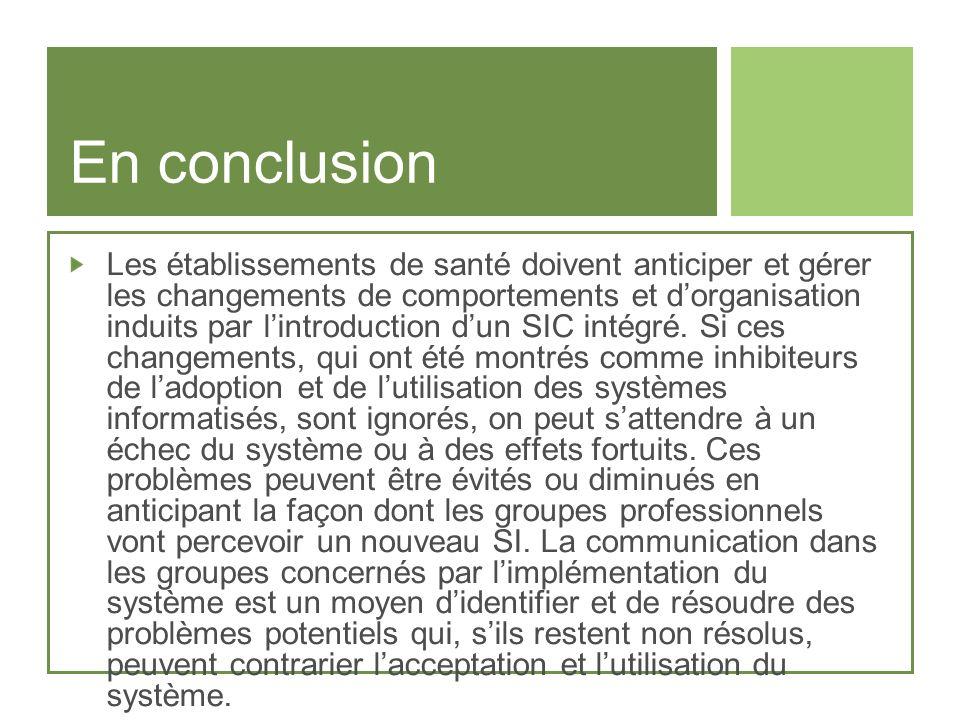 En conclusion Les établissements de santé doivent anticiper et gérer les changements de comportements et dorganisation induits par lintroduction dun S