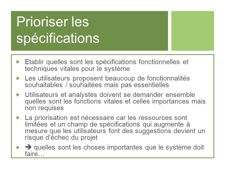Prioriser les spécifications Etablir quelles sont les spécifications fonctionnelles et techniques vitales pour le système Les utilisateurs proposent b