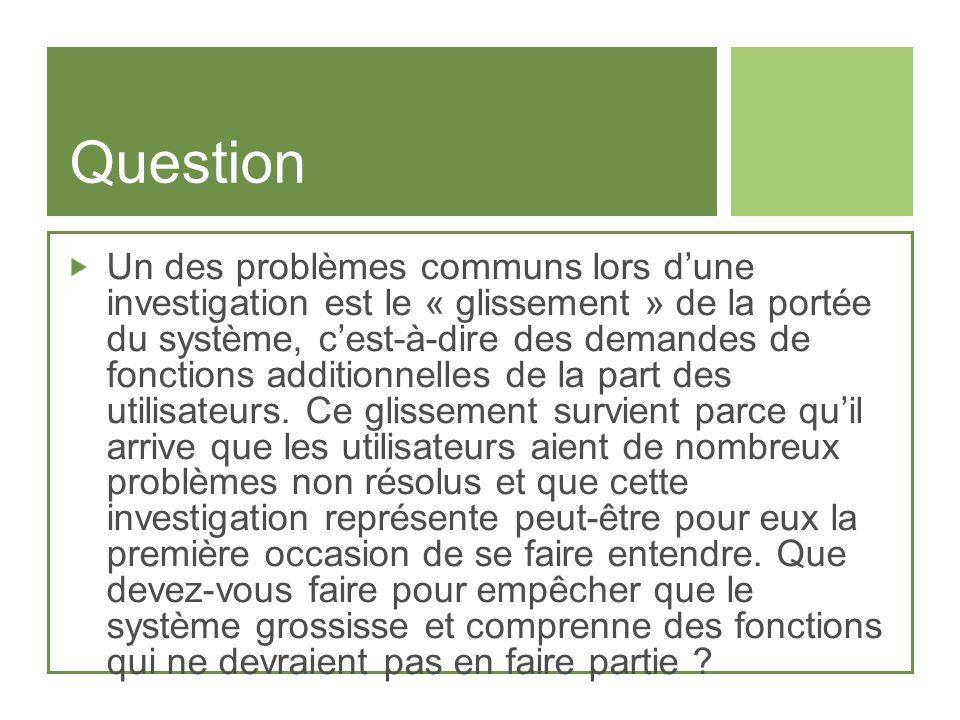 Question Un des problèmes communs lors dune investigation est le « glissement » de la portée du système, cest-à-dire des demandes de fonctions additio