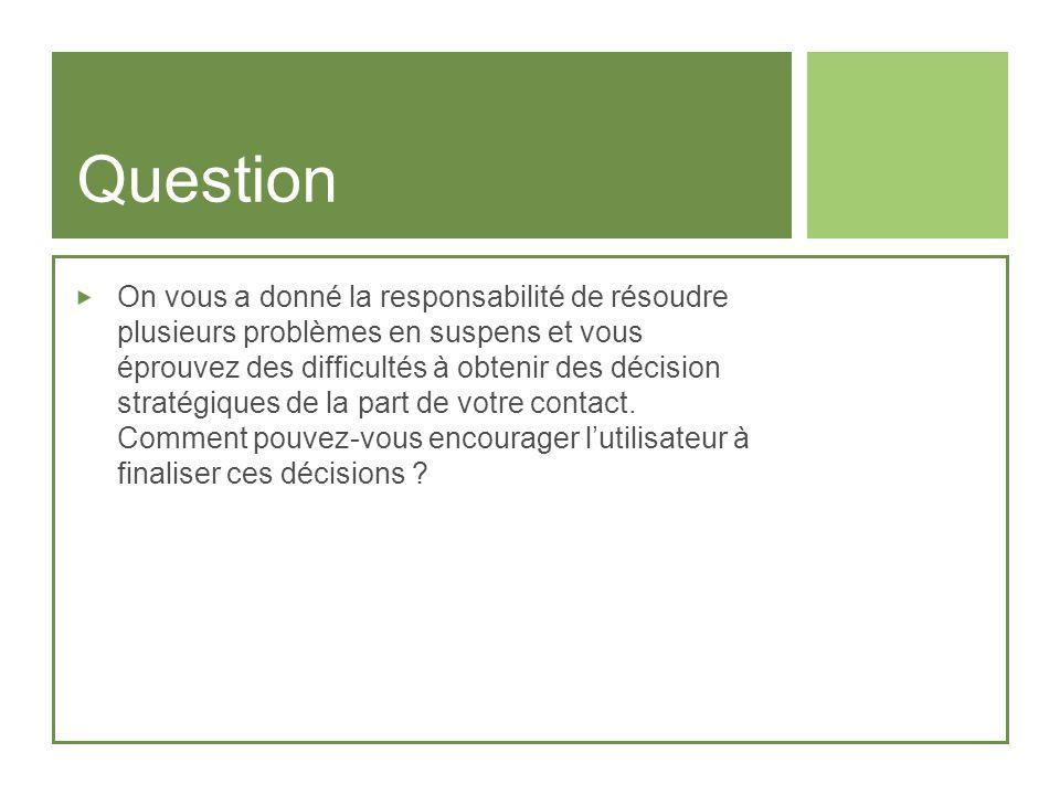 Question On vous a donné la responsabilité de résoudre plusieurs problèmes en suspens et vous éprouvez des difficultés à obtenir des décision stratégi