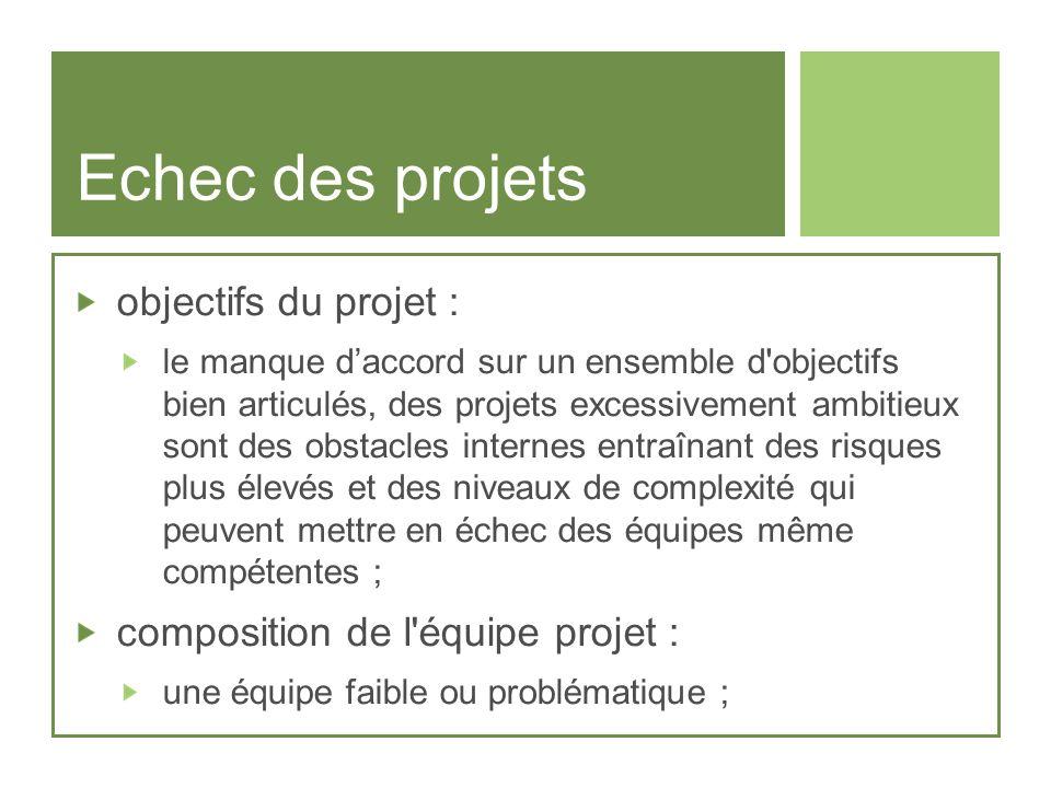 Echec des projets objectifs du projet : le manque daccord sur un ensemble d'objectifs bien articulés, des projets excessivement ambitieux sont des obs