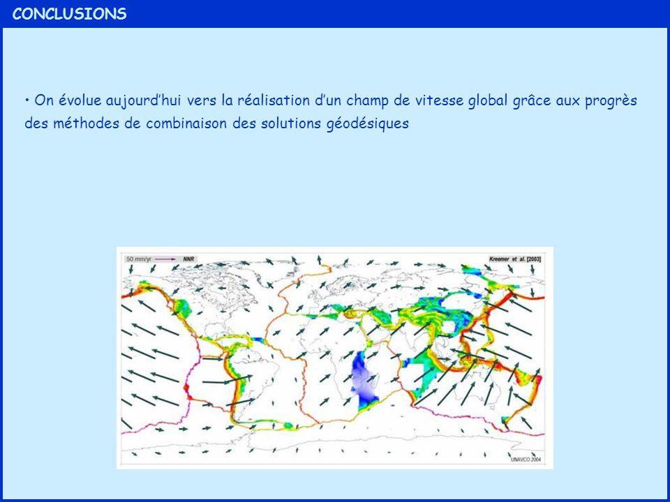 CONCLUSIONS On évolue aujourdhui vers la réalisation dun champ de vitesse global grâce aux progrès des méthodes de combinaison des solutions géodésiqu