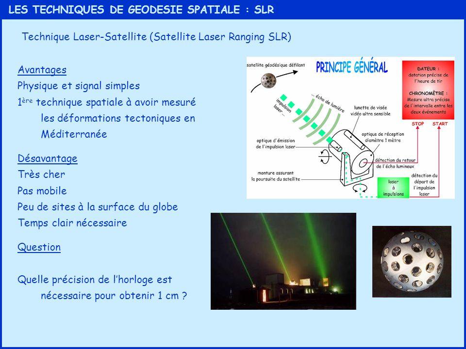 LES TECHNIQUES DE GEODESIE SPATIALE : SLR Technique Laser-Satellite (Satellite Laser Ranging SLR) Avantages Physique et signal simples 1 ère technique