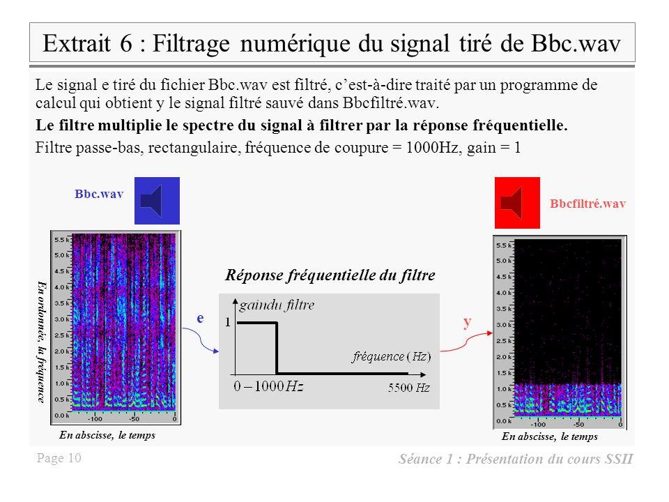 Séance 1 : Présentation du cours SSII Page 9 Compression par quantification Q=2/256 Q=2/8 C=8/3