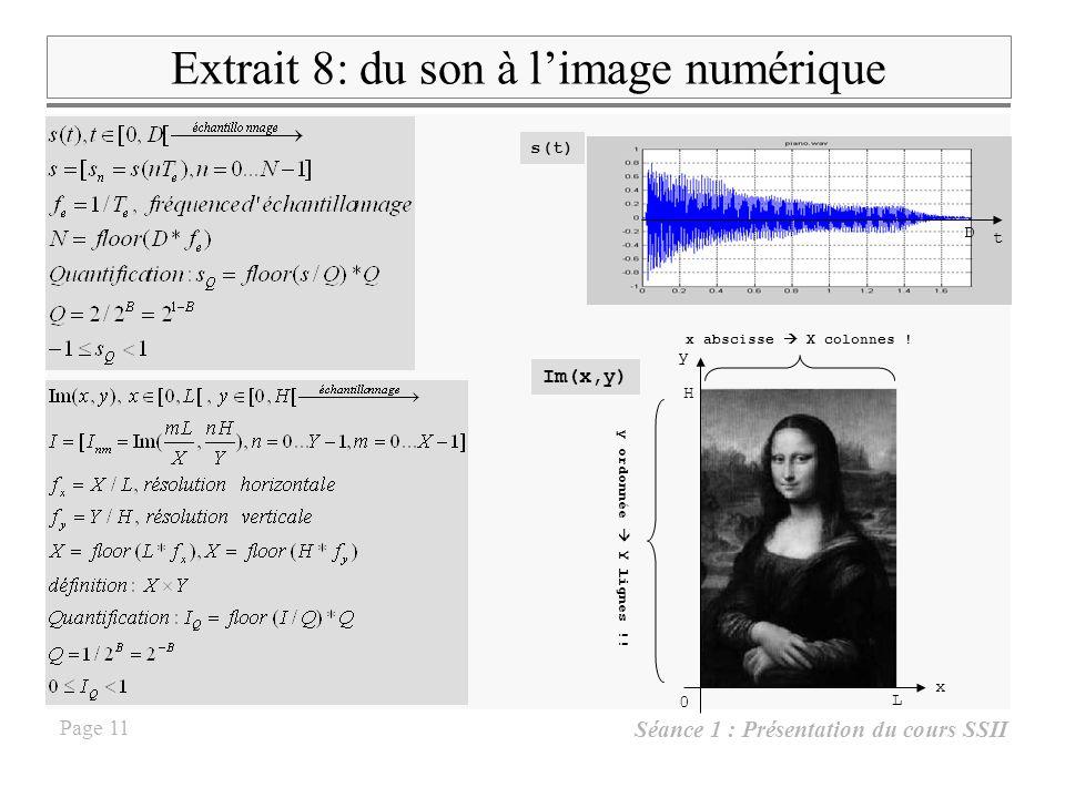 Séance 1 : Présentation du cours SSII Page 10 Extrait 6 : Filtrage numérique du signal tiré de Bbc.wav Le signal e tiré du fichier Bbc.wav est filtré,