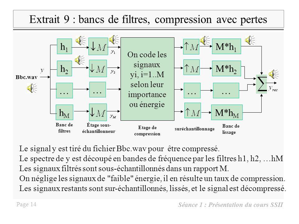 Séance 1 : Présentation du cours SSII Page 13 Quelle est lURL du cours SSII ?Lire lamplitude du fondamental dextrait 3 sur le spectre et sur le spectr