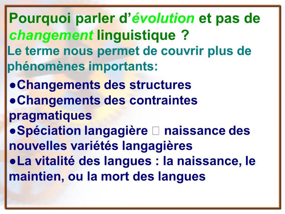 Pourquoi parler dévolution et pas de changement linguistique .