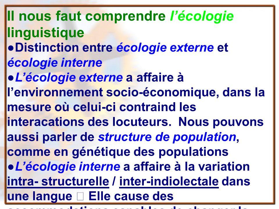 Il nous faut comprendre lécologie linguistique Distinction entre écologie externe et écologie interne Lécologie externe a affaire à lenvironnement socio-économique, dans la mesure où celui-ci contraind les interacations des locuteurs.