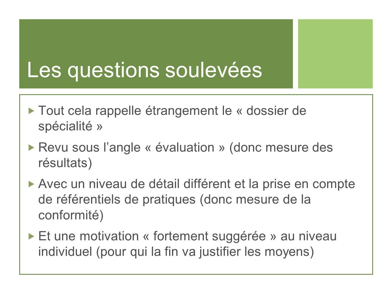 Les questions soulevées Tout cela rappelle étrangement le « dossier de spécialité » Revu sous langle « évaluation » (donc mesure des résultats) Avec u