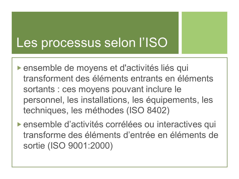 Les processus selon lISO ensemble de moyens et d'activités liés qui transforment des éléments entrants en éléments sortants : ces moyens pouvant inclu