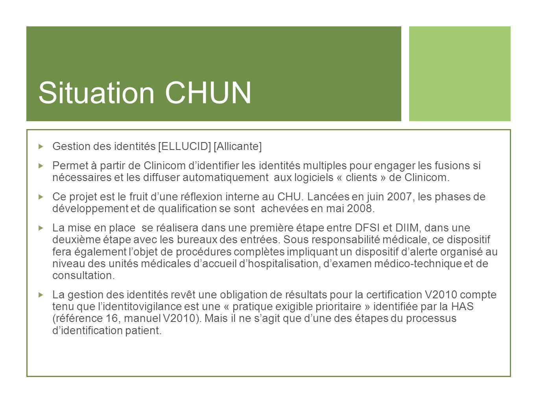Situation CHUN Gestion des identités [ELLUCID] [Allicante] Permet à partir de Clinicom didentifier les identités multiples pour engager les fusions si