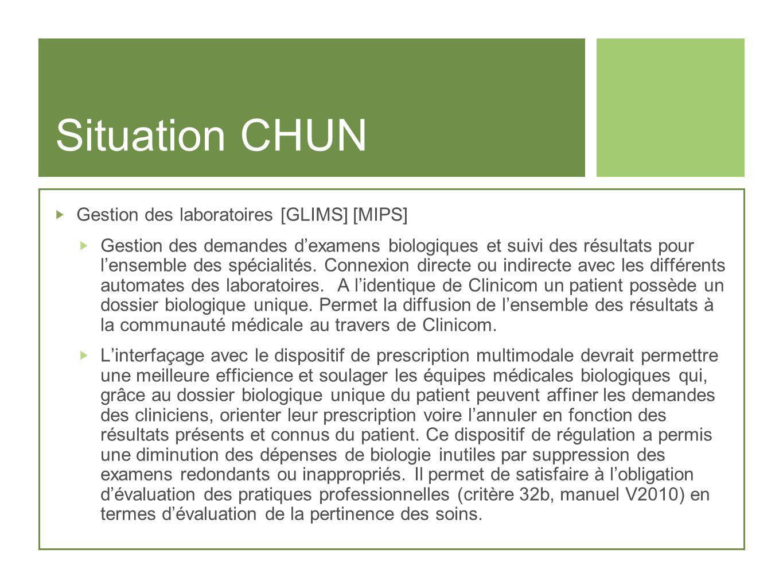Situation CHUN Gestion des laboratoires [GLIMS] [MIPS] Gestion des demandes dexamens biologiques et suivi des résultats pour lensemble des spécialités