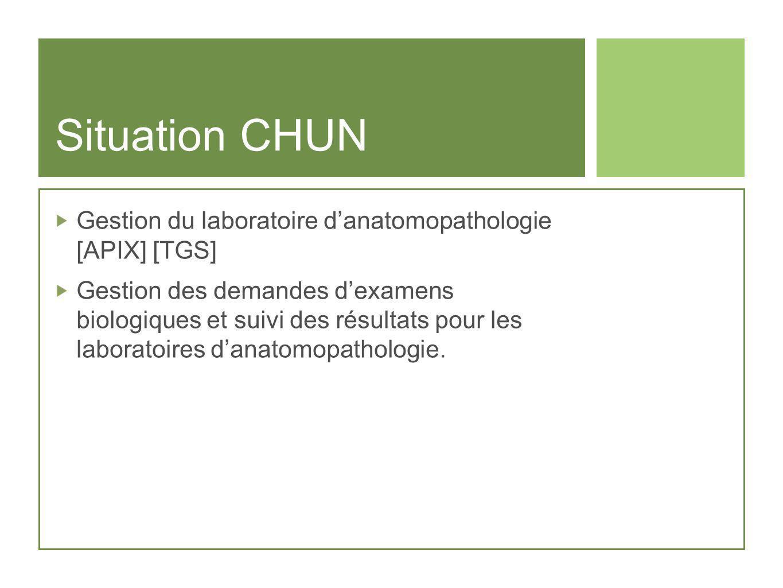 Situation CHUN Gestion du laboratoire danatomopathologie [APIX] [TGS] Gestion des demandes dexamens biologiques et suivi des résultats pour les labora