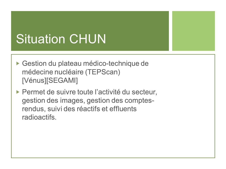 Situation CHUN Gestion du plateau médico-technique de médecine nucléaire (TEPScan) [Vénus][SEGAMI] Permet de suivre toute lactivité du secteur, gestio