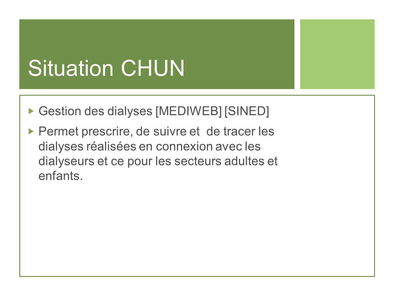 Situation CHUN Gestion des dialyses [MEDIWEB] [SINED] Permet prescrire, de suivre et de tracer les dialyses réalisées en connexion avec les dialyseurs