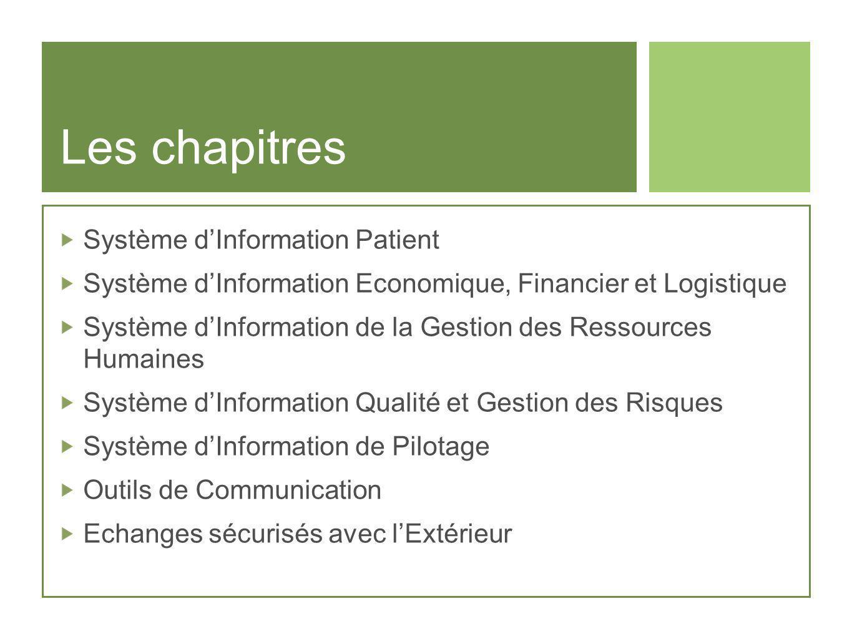 Les chapitres Système dInformation Patient Système dInformation Economique, Financier et Logistique Système dInformation de la Gestion des Ressources