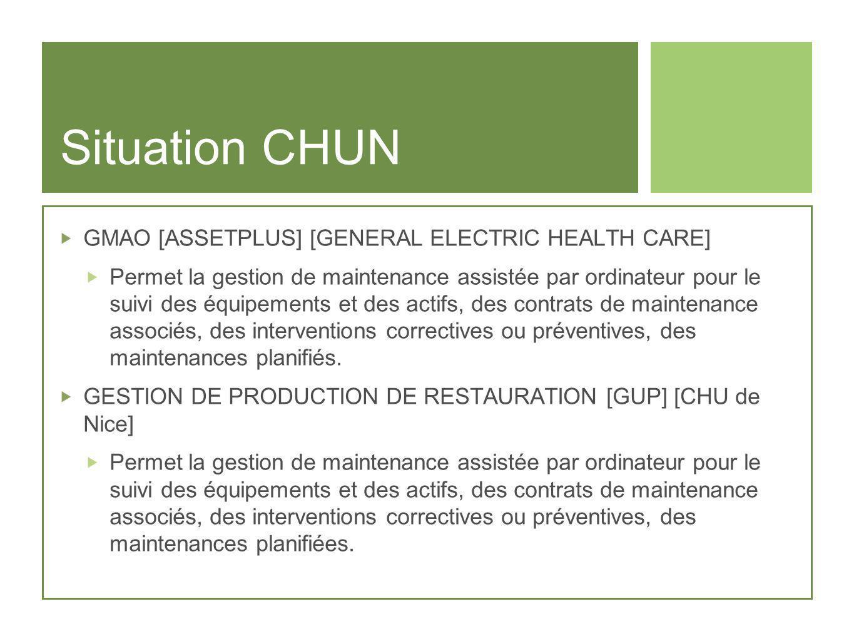 Situation CHUN GMAO [ASSETPLUS] [GENERAL ELECTRIC HEALTH CARE] Permet la gestion de maintenance assistée par ordinateur pour le suivi des équipements