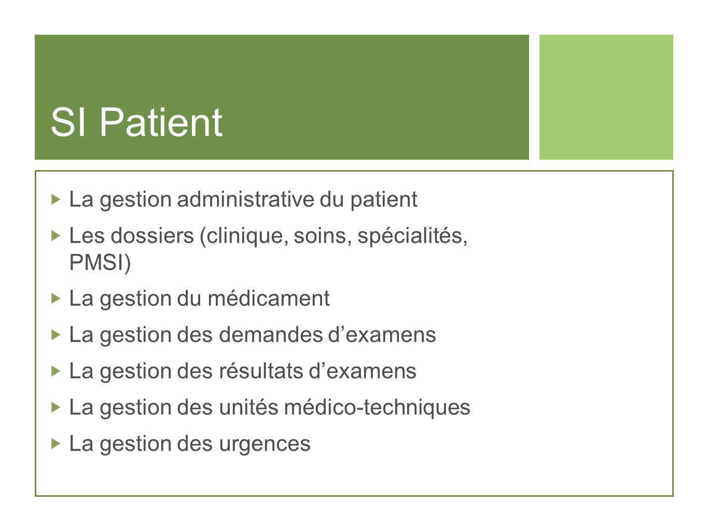 SI Patient La gestion administrative du patient Les dossiers (clinique, soins, spécialités, PMSI) La gestion du médicament La gestion des demandes dex