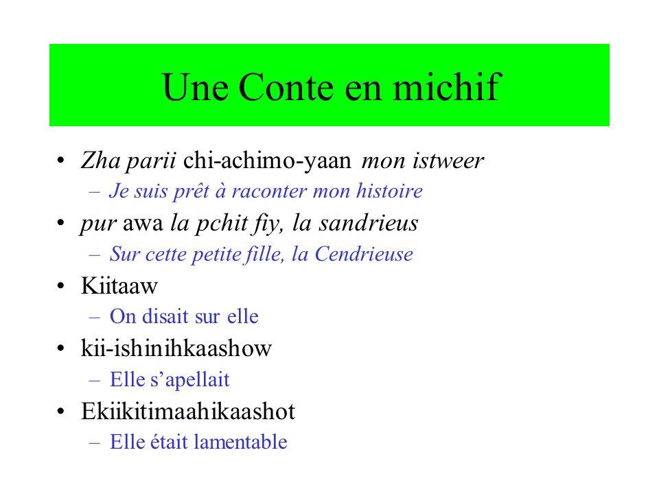 Deux langues dans une mot: cree et français Ça se mouilleli-muyii-yiwan le-mouillé-iwan the-wet-it.is ils restent làli-kãp-ii-wak le-camp-er-wak the-camp-INF-3PL finger weaving aen-li-tapi-ihkeehk ee-le-tapis-ihkee-hk COMP-the-cloth-make-IMPERS
