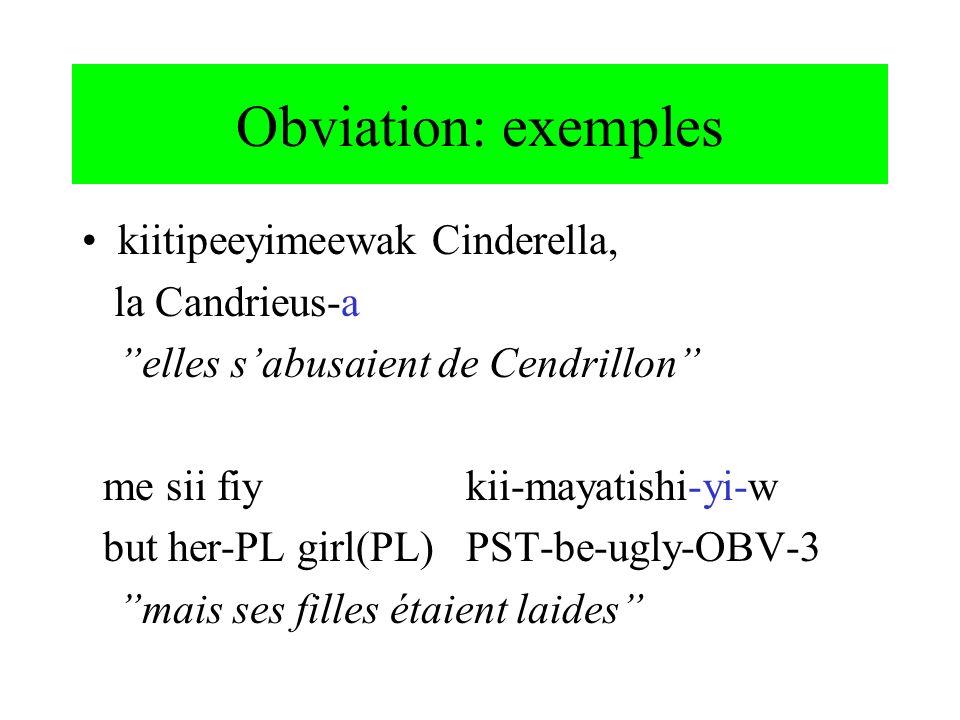 Obviation: exemples kiitipeeyimeewak Cinderella, la Candrieus-a elles sabusaient de Cendrillon me sii fiy kii-mayatishi-yi-w but her-PL girl(PL)PST-be