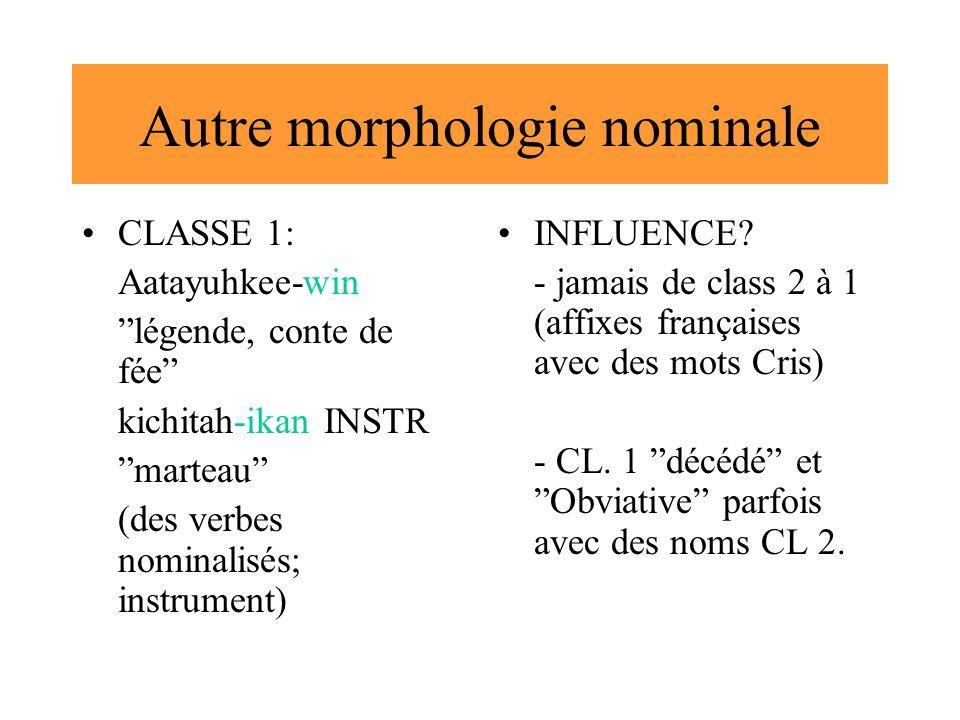 Autre morphologie nominale CLASSE 1: Aatayuhkee-win légende, conte de fée kichitah-ikan INSTR marteau (des verbes nominalisés; instrument) INFLUENCE?