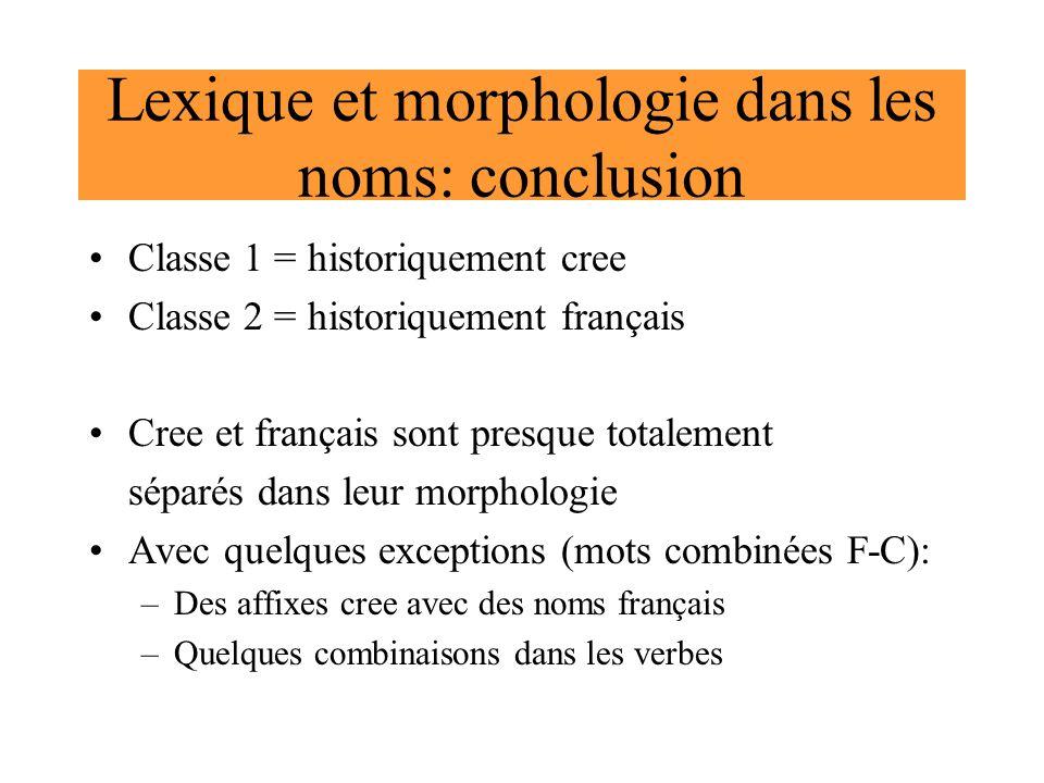 Lexique et morphologie dans les noms: conclusion Classe 1 = historiquement cree Classe 2 = historiquement français Cree et français sont presque total