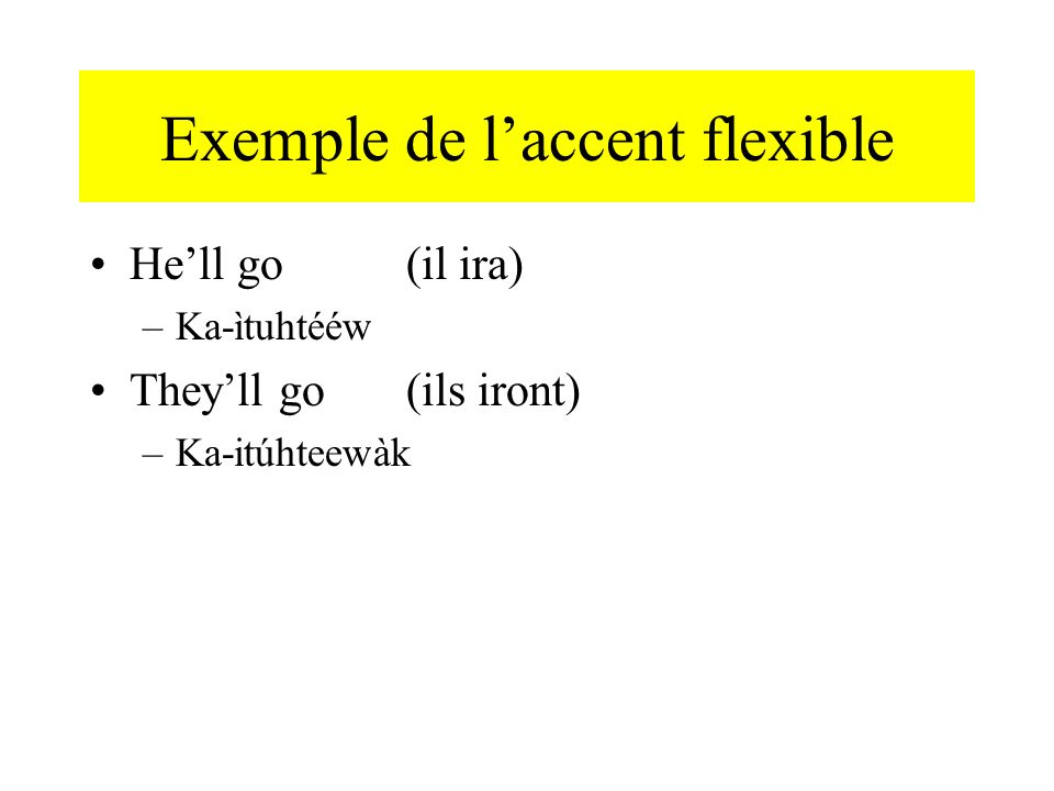Exemple de laccent flexible Hell go (il ira) –Ka-ìtuhtééw Theyll go(ils iront) –Ka-itúhteewàk