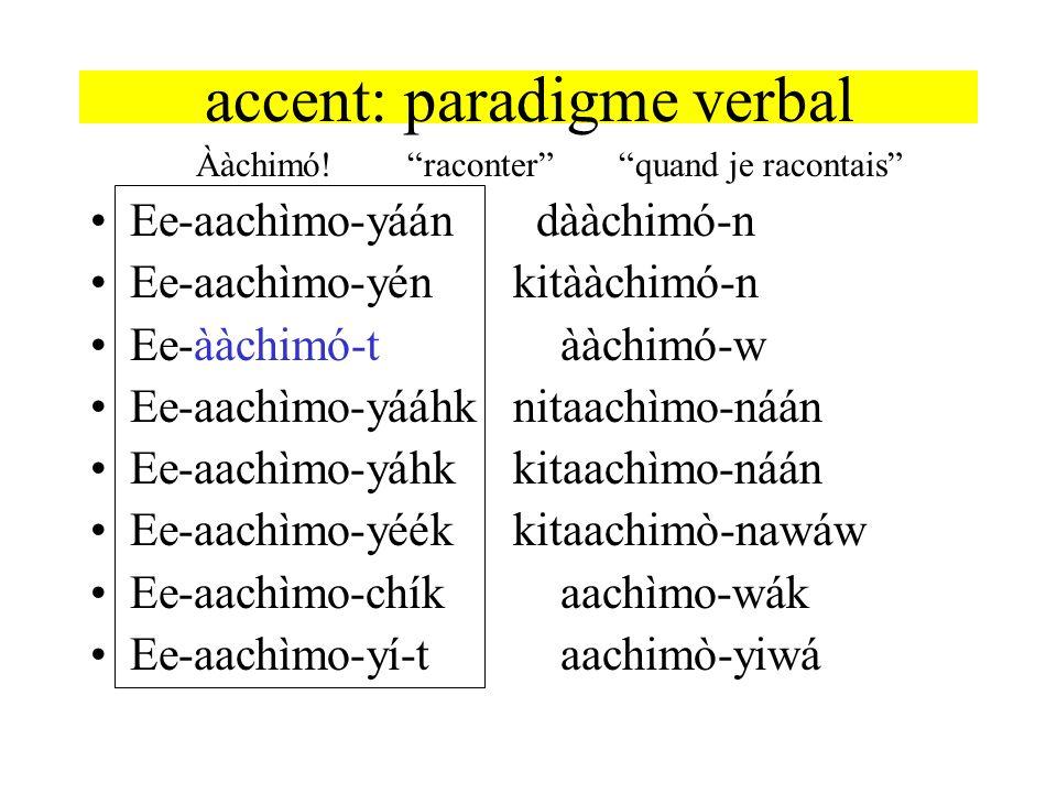 accent: paradigme verbal Ààchimó!raconterquand je racontais Ee-aachìmo-yáán dààchimó-n Ee-aachìmo-yénkitààchimó-n Ee-ààchimó-t ààchimó-w Ee-aachìmo-yá