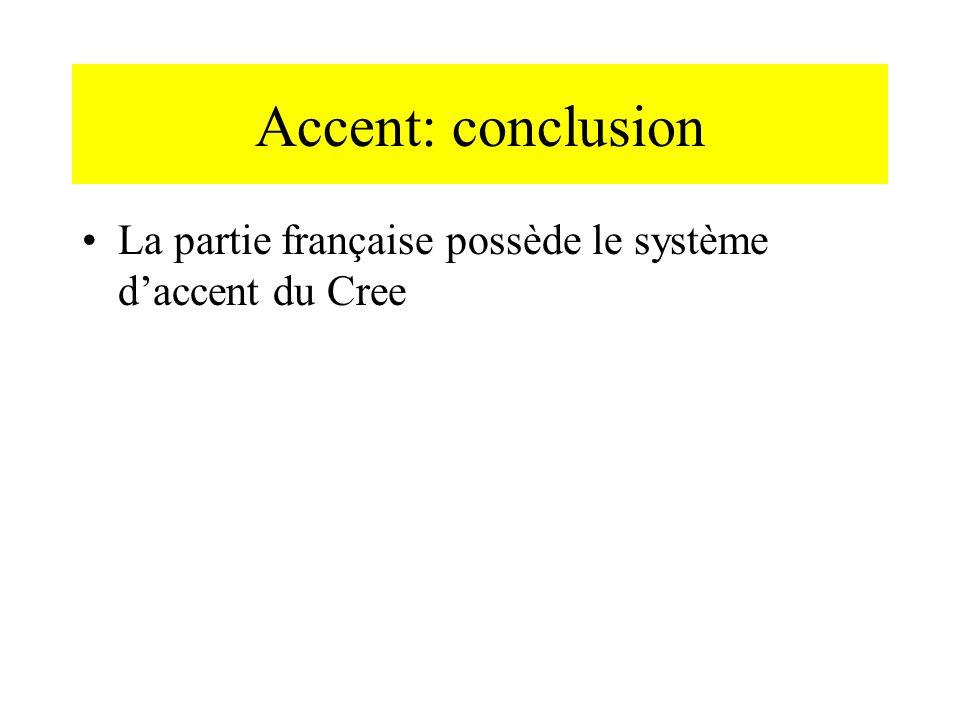Accent: conclusion La partie française possède le système daccent du Cree