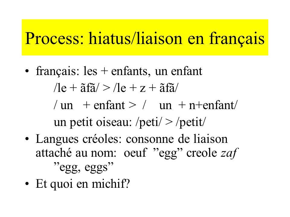 Process: hiatus/liaison en français français: les + enfants, un enfant /le + ãfã/ > /le + z + ãfã/ / un + enfant > / un + n+enfant/ un petit oiseau: /