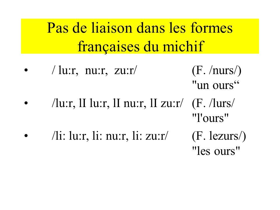 Pas de liaison dans les formes françaises du michif / lu:r, nu:r, zu:r/ (F. /nurs/)
