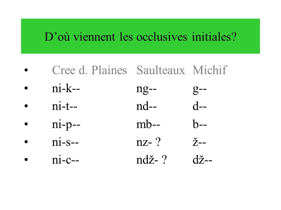 Doù viennent les occlusives initiales? Cree d. PlainesSaulteauxMichif ni-k--ng--g-- ni-t--nd--d-- ni-p--mb--b-- ni-s--nz- ?ž-- ni-c--ndž- ?dž--